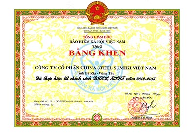 Certificate of good performance in implementing policies of social insurance and health insurance in 2014-2015 from Vietnam Social Security