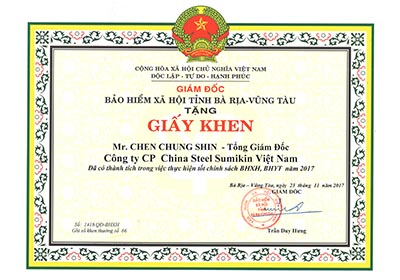 Certificate of merit to Mr. Chen, Chung-Shin - General Director of CSVC for good performance in implementing policies of social insurance and health insurance in 2017 from Social Security Office of BR-VT Province