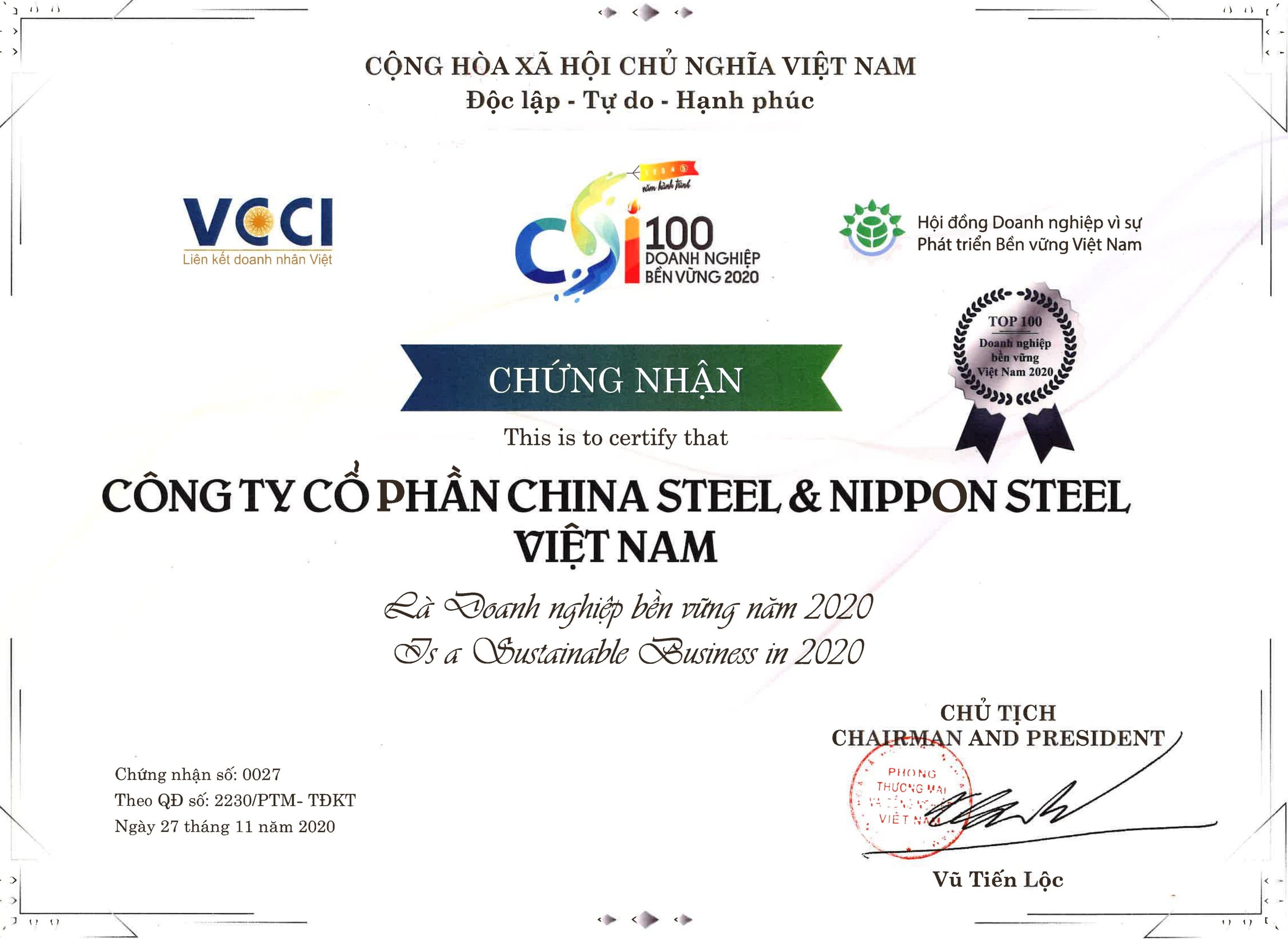 TOP 100 VIETNAM SUSTAINABLE ENTERPRISE IN 2020
